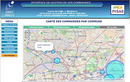 Carte des commandes dans l'interface Premium d'ERNT Direct